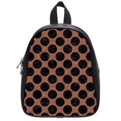 Circles2 Black Marble & Brown Denim School Bag (small) by trendistuff