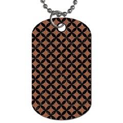 Circles3 Black Marble & Brown Denim Dog Tag (one Side) by trendistuff