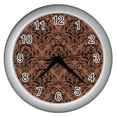 Damask1 Black Marble & Brown Denim Wall Clocks (silver)  by trendistuff