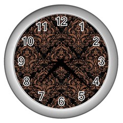 Damask1 Black Marble & Brown Denim (r) Wall Clocks (silver)  by trendistuff