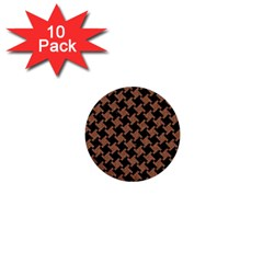 Houndstooth2 Black Marble & Brown Denim 1  Mini Buttons (10 Pack)  by trendistuff