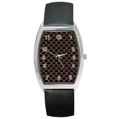 Scales1 Black Marble & Brown Denim (r) Barrel Style Metal Watch by trendistuff