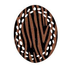 Skin4 Black Marble & Brown Denim Ornament (oval Filigree) by trendistuff