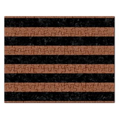 Stripes2 Black Marble & Brown Denim Rectangular Jigsaw Puzzl by trendistuff