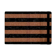 Stripes2 Black Marble & Brown Denim Apple Ipad Mini Flip Case by trendistuff