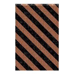 Stripes3 Black Marble & Brown Denim Shower Curtain 48  X 72  (small)  by trendistuff