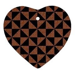 Triangle1 Black Marble & Brown Denim Ornament (heart) by trendistuff