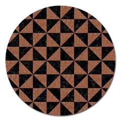 Triangle1 Black Marble & Brown Denim Magnet 5  (round) by trendistuff