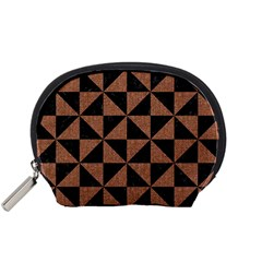 Triangle1 Black Marble & Brown Denim Accessory Pouches (small)  by trendistuff