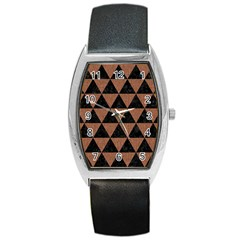 Triangle3 Black Marble & Brown Denim Barrel Style Metal Watch by trendistuff