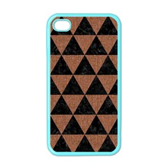 Triangle3 Black Marble & Brown Denim Apple Iphone 4 Case (color) by trendistuff
