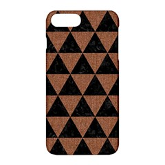 Triangle3 Black Marble & Brown Denim Apple Iphone 8 Plus Hardshell Case