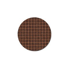 Woven1 Black Marble & Brown Denim Golf Ball Marker by trendistuff