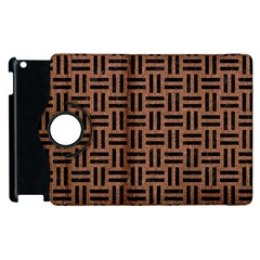 Woven1 Black Marble & Brown Denim Apple Ipad 3/4 Flip 360 Case by trendistuff