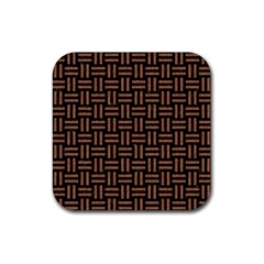 Woven1 Black Marble & Brown Denim (r) Rubber Coaster (square)  by trendistuff