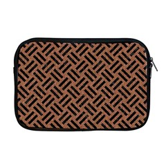 Woven2 Black Marble & Brown Denim Apple Macbook Pro 17  Zipper Case by trendistuff
