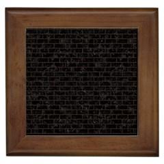 Brick1 Black Marble & Dark Brown Wood (r) Framed Tiles by trendistuff