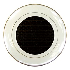 Brick1 Black Marble & Dark Brown Wood (r) Porcelain Plates by trendistuff