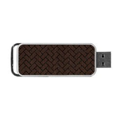 Brick2 Black Marble & Dark Brown Wood Portable Usb Flash (two Sides) by trendistuff
