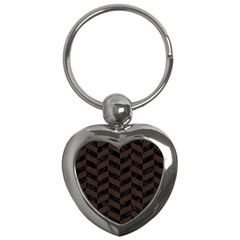 Chevron1 Black Marble & Dark Brown Wood Key Chains (heart)  by trendistuff