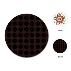 Circles1 Black Marble & Dark Brown Wood Playing Cards (round)  by trendistuff