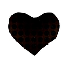 Circles1 Black Marble & Dark Brown Wood Standard 16  Premium Flano Heart Shape Cushions by trendistuff