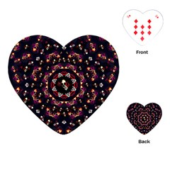 Floral Skulls In The Darkest Environment Playing Cards (heart)  by pepitasart