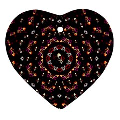 Floral Skulls In The Darkest Environment Heart Ornament (two Sides) by pepitasart