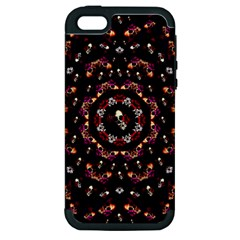 Floral Skulls In The Darkest Environment Apple Iphone 5 Hardshell Case (pc+silicone) by pepitasart
