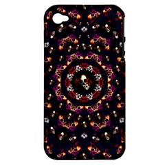 Floral Skulls In The Darkest Environment Apple Iphone 4/4s Hardshell Case (pc+silicone) by pepitasart