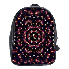 Floral Skulls In The Darkest Environment School Bag (xl) by pepitasart