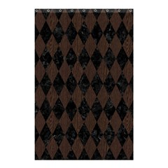 Diamond1 Black Marble & Dark Brown Wood Shower Curtain 48  X 72  (small)  by trendistuff