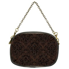 Damask1 Black Marble & Dark Brown Wood Chain Purses (two Sides)  by trendistuff