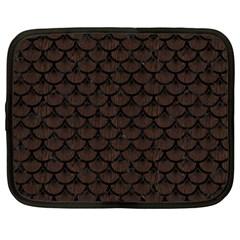 Scales3 Black Marble & Dark Brown Wood Netbook Case (large) by trendistuff