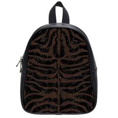 Skin2 Black Marble & Dark Brown Wood (r) School Bag (small) by trendistuff