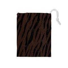 Skin3 Black Marble & Dark Brown Wood Drawstring Pouches (medium)  by trendistuff