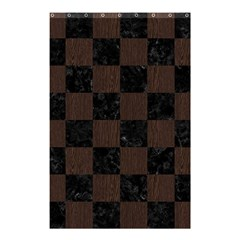 Square1 Black Marble & Dark Brown Wood Shower Curtain 48  X 72  (small)  by trendistuff