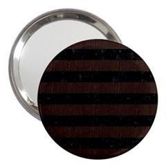 Stripes2 Black Marble & Dark Brown Wood 3  Handbag Mirrors by trendistuff