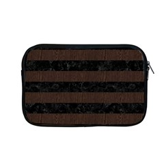Stripes2 Black Marble & Dark Brown Wood Apple Macbook Pro 13  Zipper Case by trendistuff