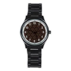 Tile1 Black Marble & Dark Brown Wood Stainless Steel Round Watch by trendistuff