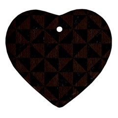 Triangle1 Black Marble & Dark Brown Wood Heart Ornament (two Sides) by trendistuff