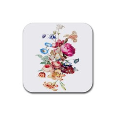 Fleur Vintage Floral Painting Rubber Square Coaster (4 Pack)  by Celenk