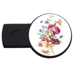 Fleur Vintage Floral Painting Usb Flash Drive Round (2 Gb) by Celenk