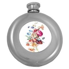 Fleur Vintage Floral Painting Round Hip Flask (5 Oz) by Celenk