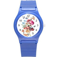 Fleur Vintage Floral Painting Round Plastic Sport Watch (s) by Celenk