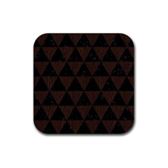 Triangle3 Black Marble & Dark Brown Wood Rubber Square Coaster (4 Pack)  by trendistuff