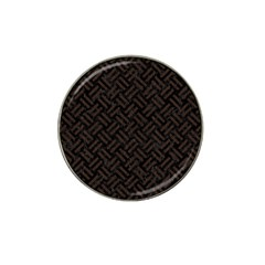 Woven2 Black Marble & Dark Brown Wood (r) Hat Clip Ball Marker (4 Pack) by trendistuff