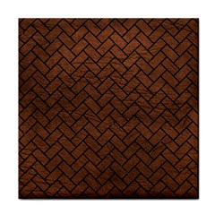 Brick2 Black Marble & Dull Brown Leather Tile Coasters by trendistuff