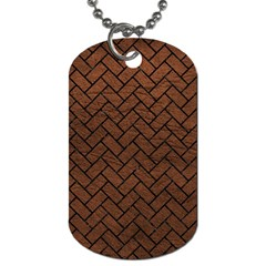 Brick2 Black Marble & Dull Brown Leather Dog Tag (two Sides) by trendistuff