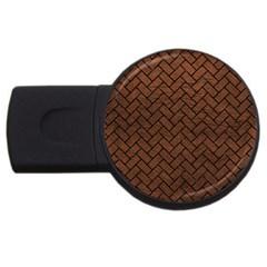 Brick2 Black Marble & Dull Brown Leather Usb Flash Drive Round (2 Gb) by trendistuff